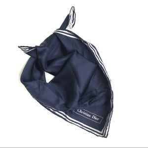 Christian Dior Navy Pure Silk Square Scarf